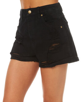 SHREDDED BLACK WOMENS CLOTHING ROLLAS SHORTS - 12315SHRB