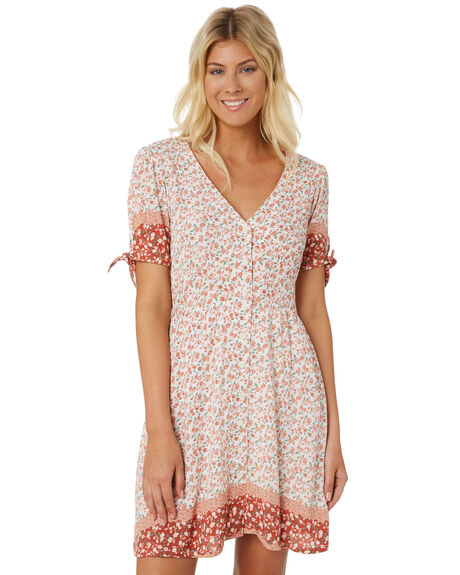 WHITE FLORAL WOMENS CLOTHING THE HIDDEN WAY DRESSES - H8188443WHITE