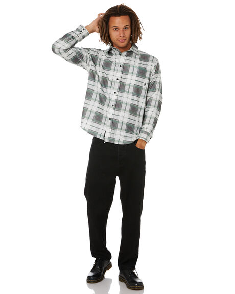 BLACK MENS CLOTHING THRILLS SHIRTS - TW21-211BBLK