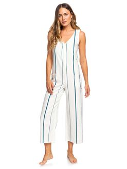 SNOW WHITE STRIPE WOMENS CLOTHING ROXY PLAYSUITS + OVERALLS - ERJWD03374-WBK4