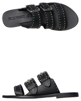 BLACK WOMENS FOOTWEAR SOL SANA SLIDES - SS181S303BLK