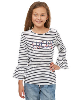 NAVY WHITE STRIPE KIDS GIRLS EVES SISTER TEES - 9910003STR