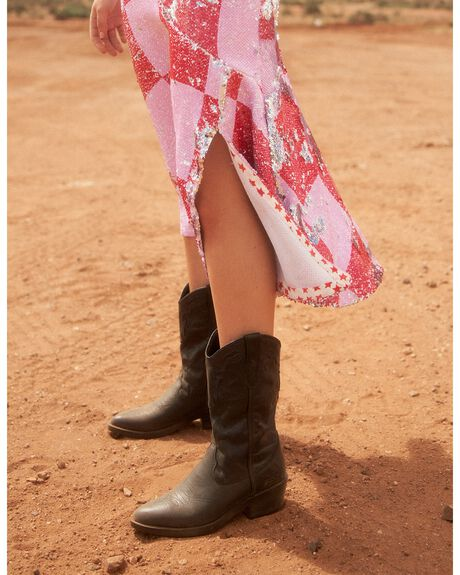BLACK VINTAGE WOMENS FOOTWEAR ROC BOOTS BOOTS - INDIOWL-BLKVINFG
