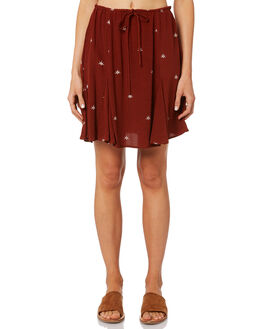 BALIWOOD BROWN WOMENS CLOTHING RUE STIIC SKIRTS - WS18-05-SBW-FBALI