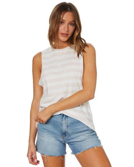 CREAM STRIPE OUTLET WOMENS NUDE LUCY SINGLETS - NU23979CMSTP