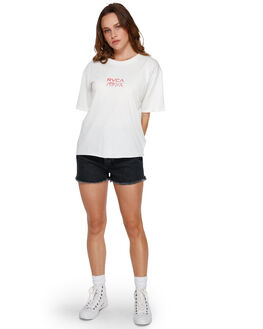 ANTIQUE WHITE WOMENS CLOTHING RVCA TEES - RV-R291686-AWT