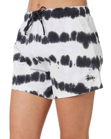BLACK WHITE WOMENS CLOTHING STUSSY SHORTS - ST193618BKWT