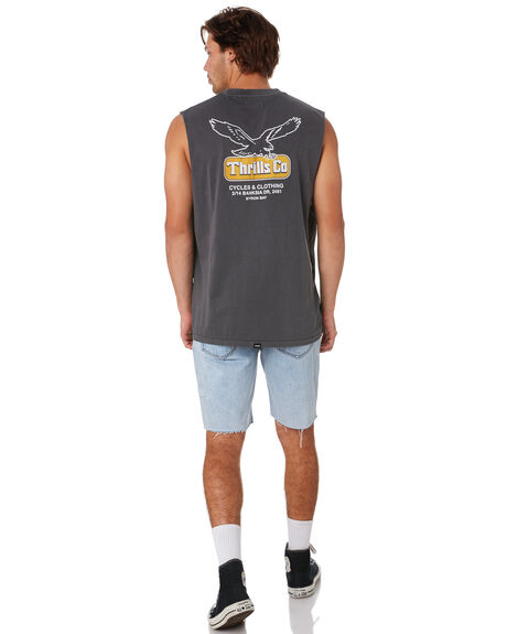 VINTAGE BLACK MENS CLOTHING THRILLS SINGLETS - TS9-117VBVNBLK
