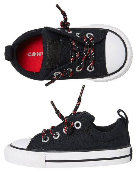 BLACK ENAMEL RED KIDS BOYS CONVERSE FOOTWEAR - 762342BLK
