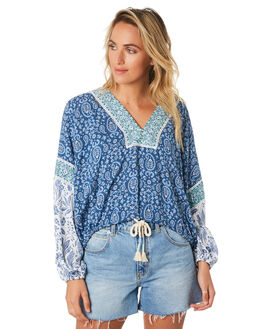 BLUE WOMENS CLOTHING TIGERLILY FASHION TOPS - T391043BLU