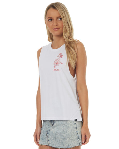 WHITE WOMENS CLOTHING RIP CURL SINGLETS - GTESF1WHT