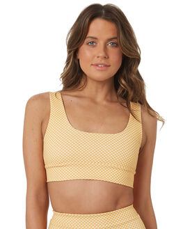 GOLDEN YELLOW CHECK OUTLET WOMENS CAMP COVE SWIM BIKINI TOPS - NH18-YCHECK-T006