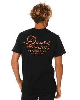 BLACK MENS CLOTHING DEUS EX MACHINA TEES - DMA91838FBLK