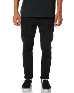 FADED BLACK MENS CLOTHING THRILLS JEANS - TDP-418FBFBLK