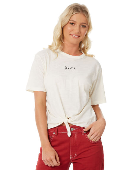 VINTAGE WHITE OUTLET WOMENS RVCA TEES - R281694VWH