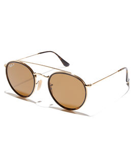 GOLD BROWN UNISEX ADULTS RAY-BAN SUNGLASSES - 0RB3647N00157