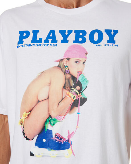 WHITE OUTLET MENS PLAYBOY TEES - PB4200104WH