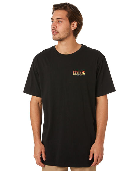 BLACK MENS CLOTHING RPM TEES - 8SMT06ABLK