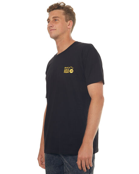 BLACK MENS CLOTHING RVCA TEES - R171109BLK