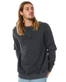 BLACK ACID WASH MENS CLOTHING AFENDS JUMPERS - M183501BAW