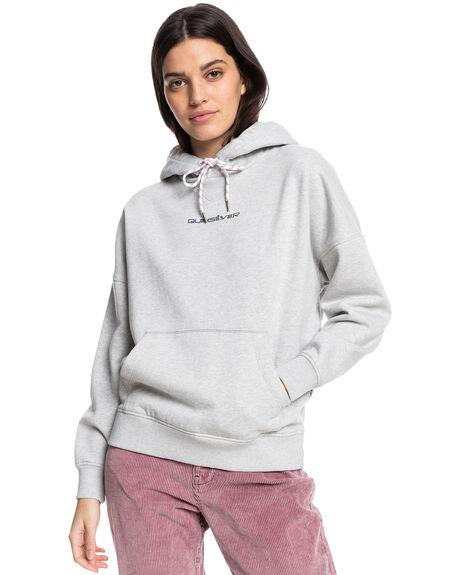 LIGHT GREY HEATHER WOMENS CLOTHING QUIKSILVER HOODIES + SWEATS - EQWFT03042-SJSH