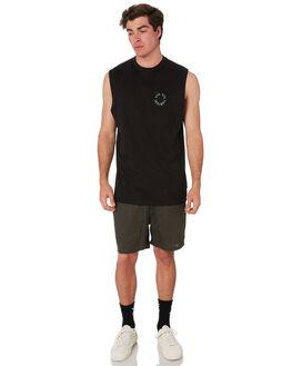 BLACK MENS CLOTHING RPM SINGLETS - 9SMT10A1BLK