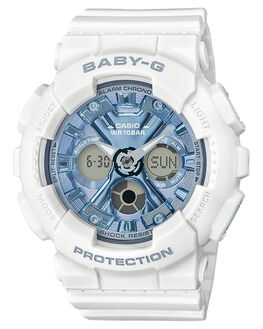 WHITE BLUE METALLIC WOMENS ACCESSORIES BABY G WATCHES - BA130-7A2WBM