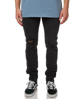 FADED BLACK MENS CLOTHING THRILLS JEANS - TDP-410BFBLK