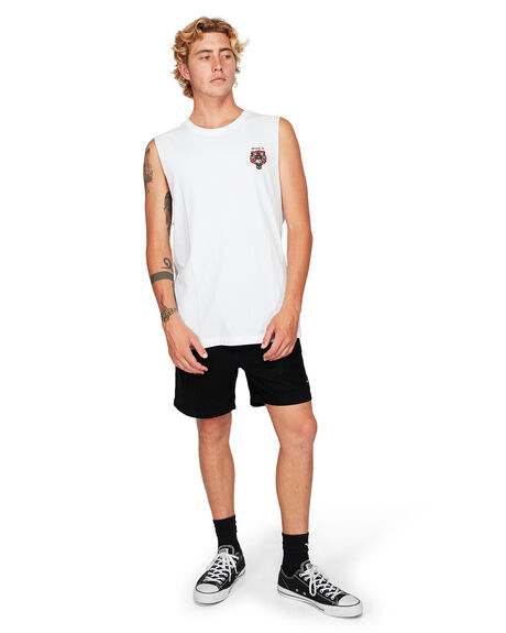 WHITE MENS CLOTHING RVCA SINGLETS - RV-R192013-WHT