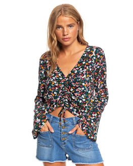 ANTHRACITE BOUQUET WOMENS CLOTHING ROXY FASHION TOPS - ERJWT03356-KVJ9