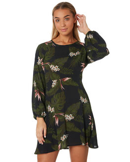 BLACK WOMENS CLOTHING RUSTY DRESSES - DRL0971BLK