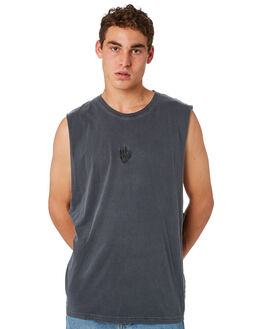 STONE BLACK MENS CLOTHING AFENDS SINGLETS - M184083STBLK