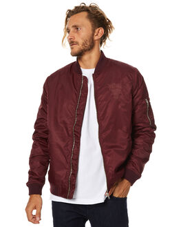 BURGUNDY MENS CLOTHING STUSSY JACKETS - ST075504BURG