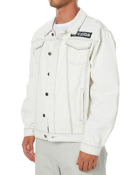 WASHED WHITE MENS CLOTHING AFENDS JACKETS - 07-01-060WWHT