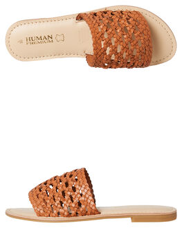 TAN LEATHER WOMENS FOOTWEAR HUMAN FOOTWEAR SLIDES - TUCSONTLTR