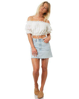 WHITE WOMENS CLOTHING TIGERLILY FASHION TOPS - T381047WHT