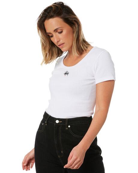 WHITE WOMENS CLOTHING STUSSY TEES - ST106115WHITE