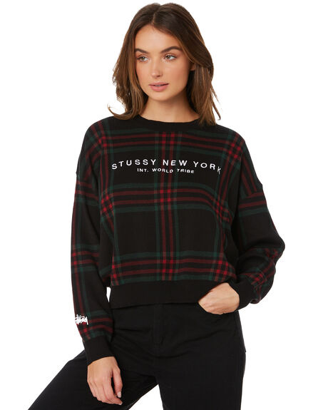 BLACK WOMENS CLOTHING STUSSY JUMPERS - ST197304BLK