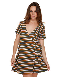 ARMY DRAB WOMENS CLOTHING RVCA DRESSES - RV-R491754-A90