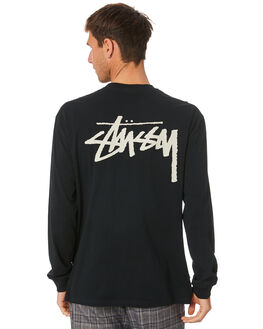 BLACK MENS CLOTHING STUSSY TEES - ST007006BLK