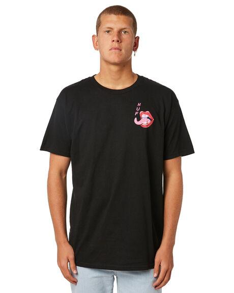 BLACK MENS CLOTHING HUF TEES - TS00248BLACK
