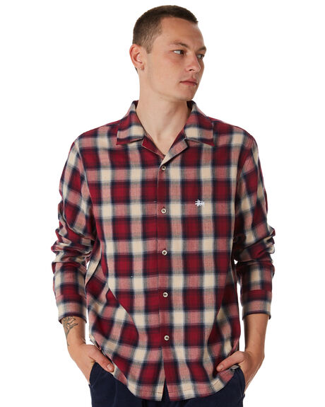 RED MENS CLOTHING STUSSY SHIRTS - ST087400RED