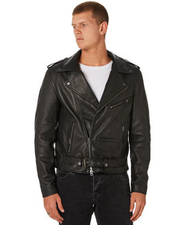 BLACK LEATHER MENS CLOTHING NEUW JACKETS - 33243783