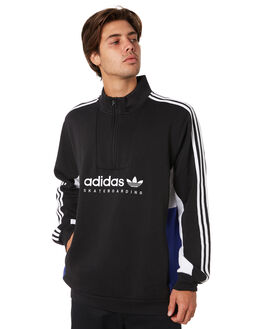 BLACK WHITE BLUE MENS CLOTHING ADIDAS JUMPERS - DU8381BWB