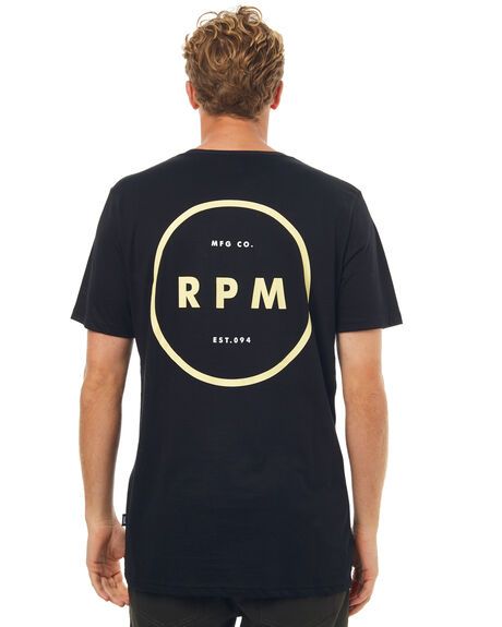 BLACK MENS CLOTHING RPM TEES - 7SMT04ABLK