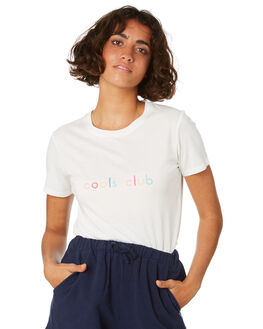 WHITE WOMENS CLOTHING COOLS CLUB TEES - 102-CW1WHT