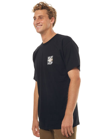BLACK MENS CLOTHING HUF TEES - TS00194BLK