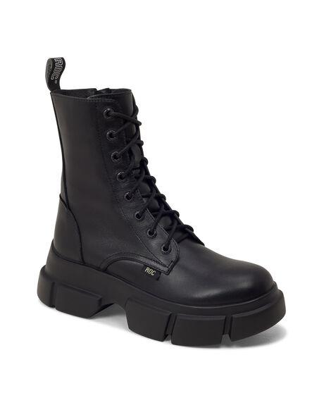 BLACK LEATHER WOMENS FOOTWEAR ROC BOOTS BOOTS - ROADIEWL-BLKFG-36