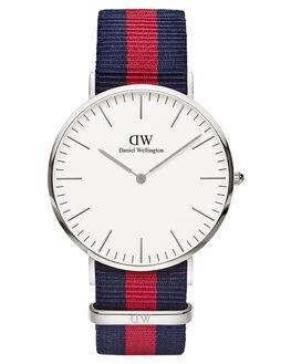 SILVER BLUE RED MENS ACCESSORIES DANIEL WELLINGTON WATCHES - DW00100015BLURD