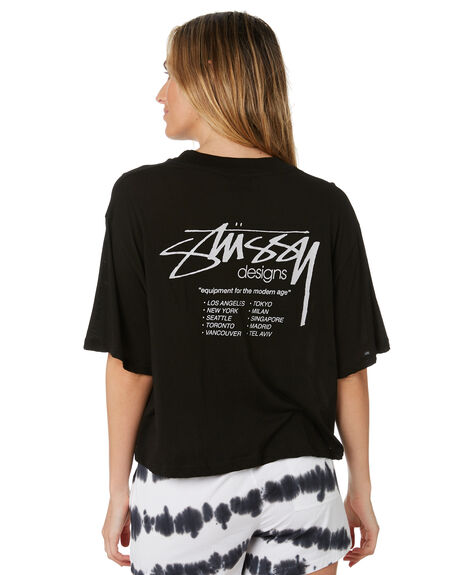 BLACK WOMENS CLOTHING STUSSY TEES - ST193003BLK
